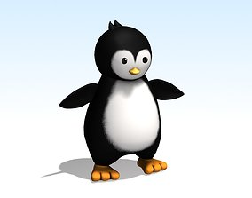 cartoon penguin 3D asset game-ready