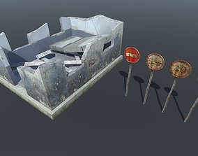 3D asset Small Post Apocalyptic set