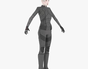 3D model Sci-Fi Female Character in black