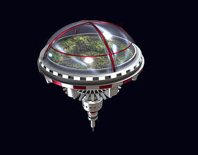 3D model low-poly Spaceship - Biodome