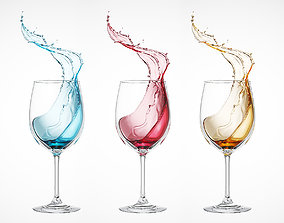 Liquid water splash into wine glass 3D