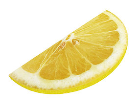 Lemon round slice half fresh 3D model