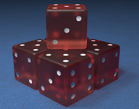 Dice Red and White 3D luck