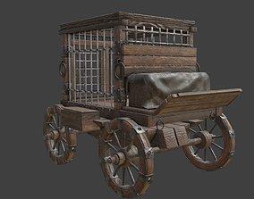 3D asset medieval prisoner transport cart