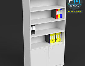 Office shelf with ring binders and folders 3D