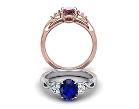 Oval 8mmx6mm Stone Engagement ring 3dmodel N0259