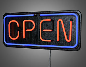 Open Neon Sign - PBR Game Ready 3D model