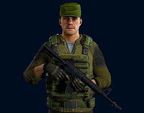 3D model Modular military character - demo