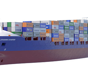 iso 140 m Container Ship 3D