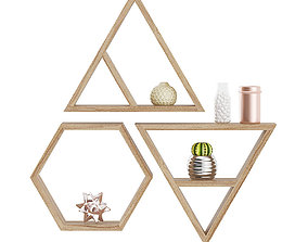 Wooden Wall Shelf with Decorations 3D
