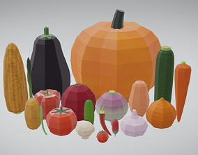 20 Vegetables - Flat Shaded 3D model game-ready