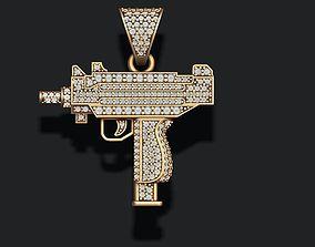 automat gun pendant with gems 3D printable model
