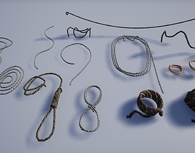 Set of Various Medieval Ropes 3D model