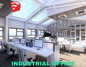 3D asset Industrial Office on Attic with Skylights Scene -