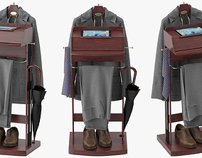 Mens Suit Brown Wooden Valet Stand 1 3D model