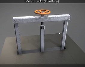 Animated Water Sluice Gate Low-Poly 3D model