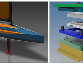 Toy Yacht Injection mold CNC machining 3D model