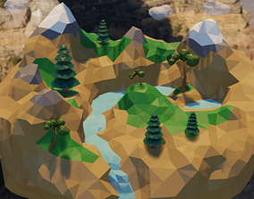 3D asset Low Poly World Island with Waterfall and Trees