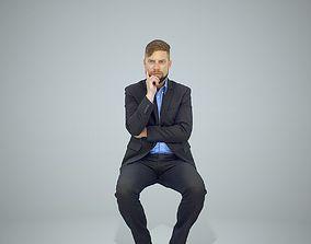 Sitting Business Man Thinking 3D model