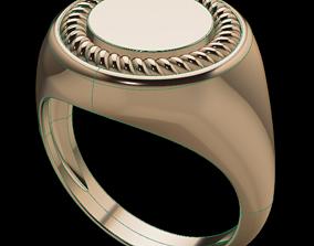 3D print model Round Men Signet Ring Rope Twist