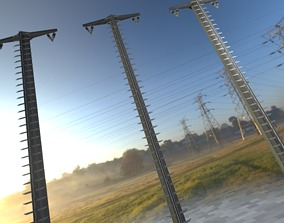 Concrete Electricity Pole with Ladder - Object 3D asset 1