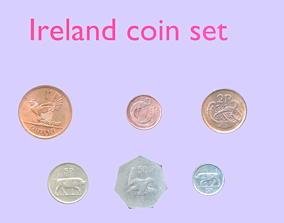 3D Ireland coin - set model