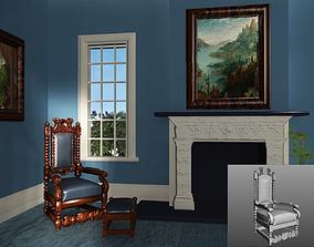 3D model Antique Throne Chair