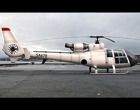 3D animated Aerospatiale SA Gazelle
