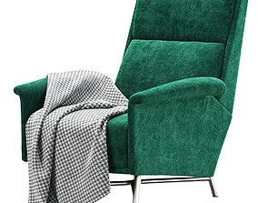 3D model Mid century Italian green velvet armchair