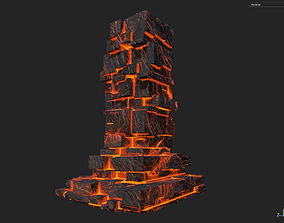 3D model Low poly Lava Temple Block 10 181116