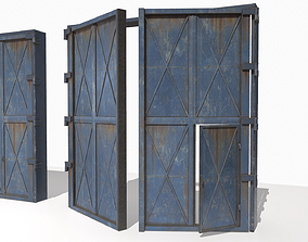 3D model Industrial metal gate 4