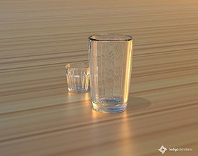 Faceted glass and wine glass 3D