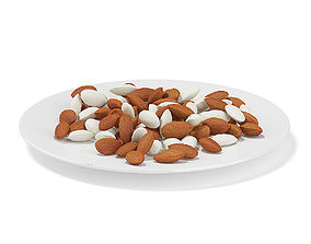 3D model Almonds on White Plate