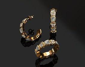 diamond-ring Ring and Earrings 3D print model