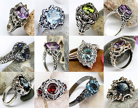 Sculpted ring 3D model set Fantasy jewelry