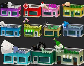 low poly cartoon buildings 3d model pack VR / AR ready