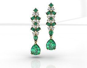 3D print model Emerald Pear Diamond Earrings
