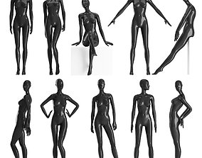 Set of female Mannequins 9 pozes 3D