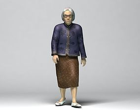 rigged Old Asian Female 3d Model Rigged
