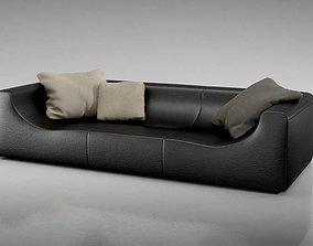 Black Leather Couch 3D model living-room