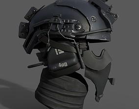Military scifi helmet low poly 3D asset