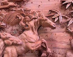 3D print model Mural Horse wood carving file stl OBJ and 2