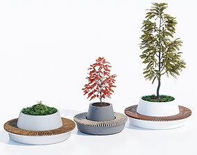 Green circular benches 3D model