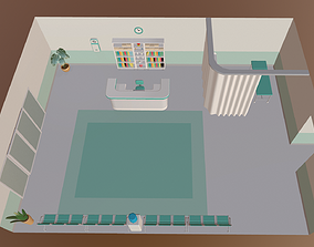 3D asset Cartoon medical reception