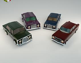 3D model Low Poly Sedan Car Pack 02