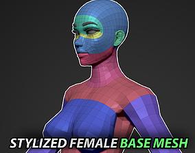 3D asset realtime Stylized Female Base Mesh