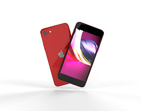 Apple iPhone SE 2020 Product Red 3D model screen