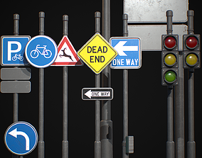 Street Sign Traffic Light Signal 3D model game-ready