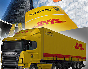 Scania trailer DHL 3D asset rigged