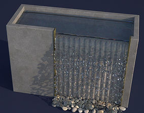 3D Concrete Overflow Fountain photorealistic